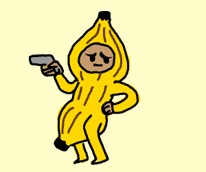 a guy in a banana costume with a gun