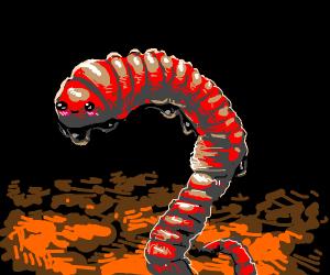 Happy blushing earthworm