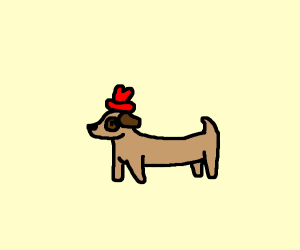 Dog with a red hat