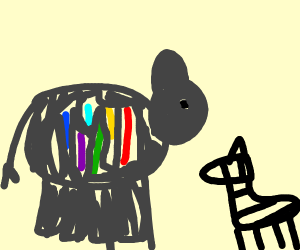 Colourful sweating elephant looking at zebra