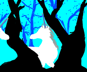 2 magical unicorns in the forest