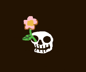 flower growing out of skull
