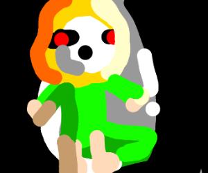 blonde loli in flowey psychedelic space suit