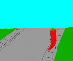chili about to cross the street