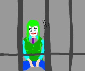 anime girl with green hair in jail says hi
