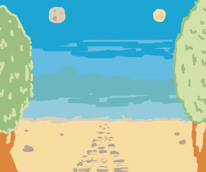 A forest with a path and two moons