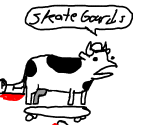 Cow from ASDF movie does a kickflip