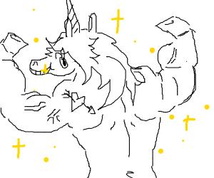 Buff white unicorn