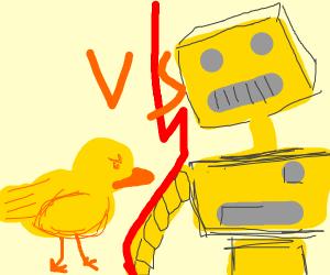 duck vs yellow big robot