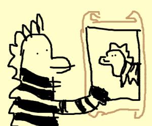 Zebra holding a painting of a zebra
