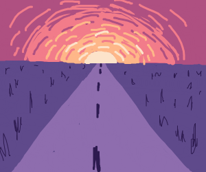 a long never-ending road into the sunset