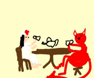 Nurse has tea party with lava demon