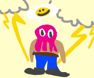 happy octopus man in thunder
