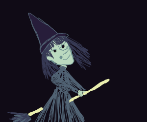 Witch Flys Through Air On Broom