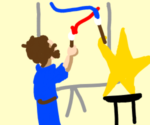 A Person and a Star are painting
