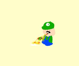 Luigi eating Spaghetti