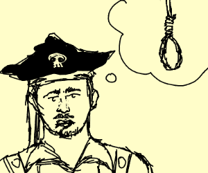 very sad pirate who has suicidal thoughts