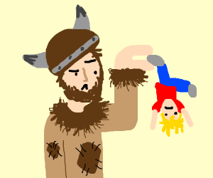 viking man did not learn how to hold a baby