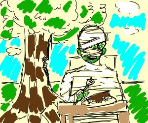 Tree eating mummy