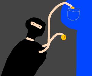 Thief steals gold coins.