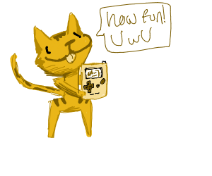 Garfield playing gameboy color