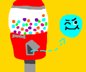 Winking gumball escaped the machine