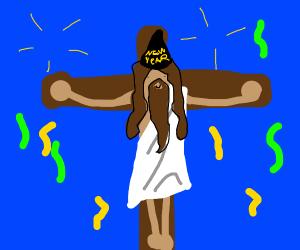 jesus celebrating new years on the cross