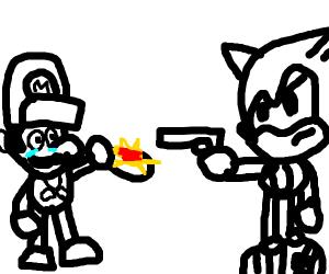 Sonic mugging Mario for spaghetti