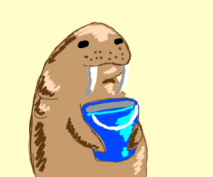 Walrus and blue pail
