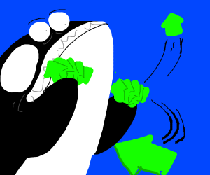 killer whale handing out upvotes