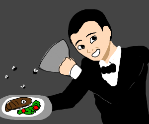 A waiter serving food with flies above it