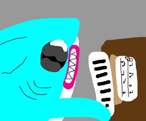 Shark with toupee plays piano.