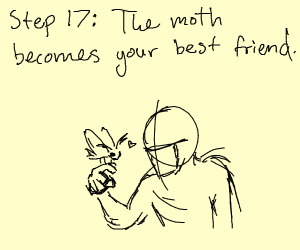 Step 16: Cry to cheer up the poor moth