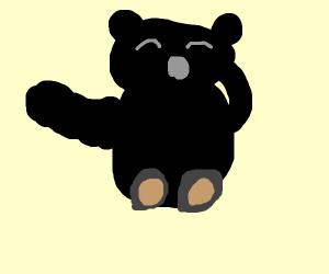 black teddybear yawns