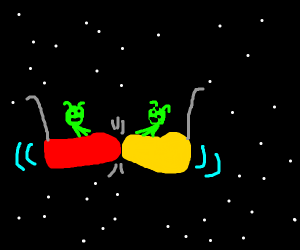 two aliens play bumper cars in space