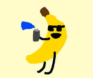 Banana wearing sunglasses using Aerosol can