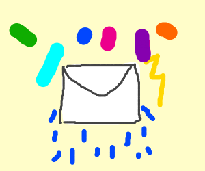 Raining mail with confetti