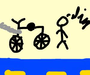 ah S here we go ag man waking to bike