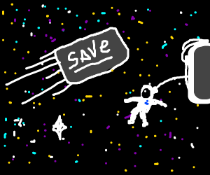 Save button travels through the Universe