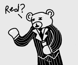 Red Gummi bear in a nice suit