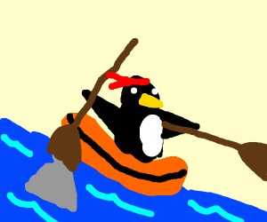 Penguin Rides A Raft Down A River
