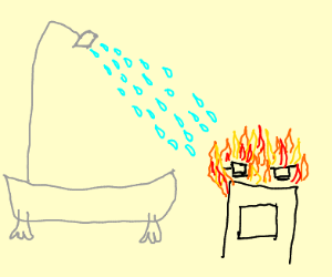 Shower on grease fire