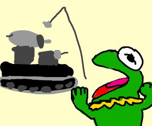 kermit fishing theres a tank behind him