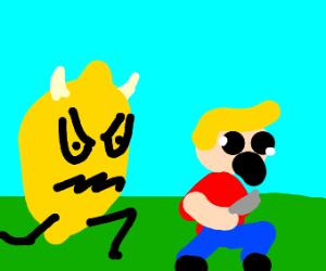 Demonic Lemon Chases Man With Knife
