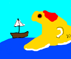 goldfish eating boat