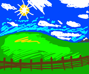 windows XP background but it has a fence, sun