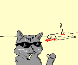cat smoking pot after murdering his owner