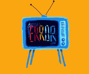 Error rainbow on blue tv