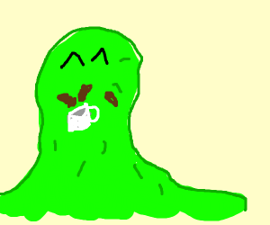 mr. green slime is happy with his coffee