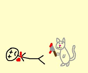 Cat murders a human